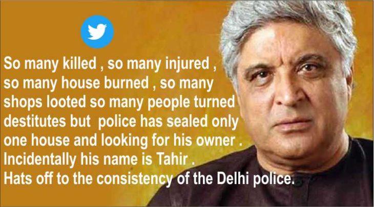 Javed Akhtar says police looking for tahir husain because he is a Muslim